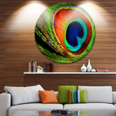 Design Art Peacock Feather Photography Circle Metal Wall Art