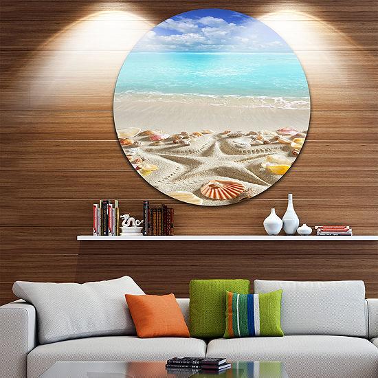 Design Art Caribbean Sea Starfish Beach and ShoreCircle Metal Wall Art