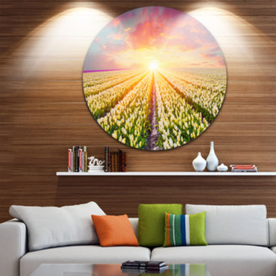 Design Art Blooming White Tulips Circle Metal WallArt