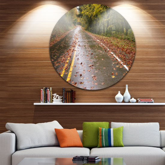 Design Art Wet Rainy Road in Forest Landscape Photo Circle Metal Wall Art