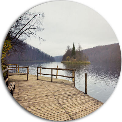 Design Art Plitvice Lakes Wooden Bridge Circle Metal Wall Art