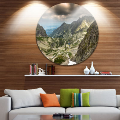 Design Art Tatra Mountains from Hiking Trail Landscape Photo Circle Metal Wall Art