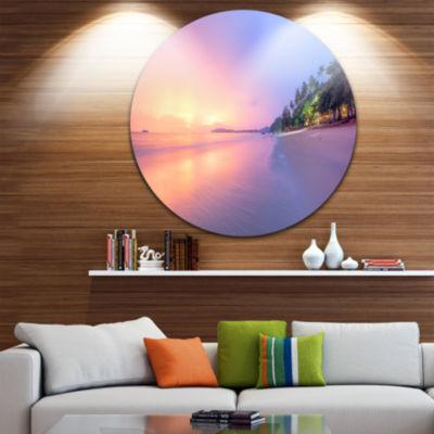 Design Art Beach with Colorful Sky Circle Metal Wall Art