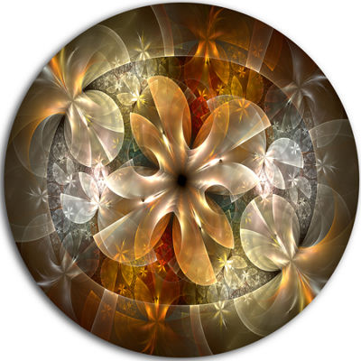 Design Art Fractal Flower with Blue Details FloralCircle Metal Wall Art