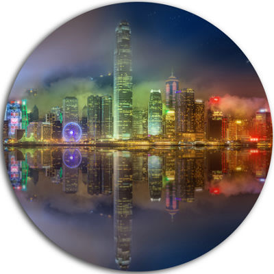 Design Art Hong Kong Panoramic View Seascape Photography Circle Metal Wall Art
