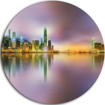 Design Art Hong Kong Panorama at Twilight Cityscape Photo Circle Metal Wall Art