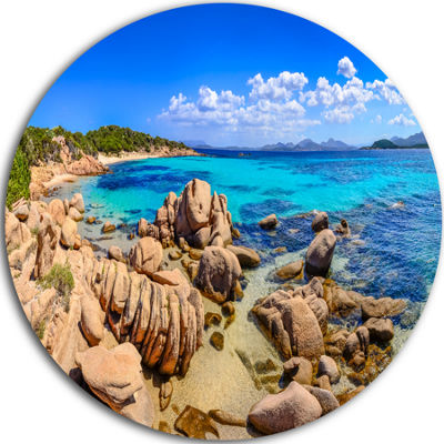 Design Art Coastline Panorama Beach Photography Circle Metal Wall Art