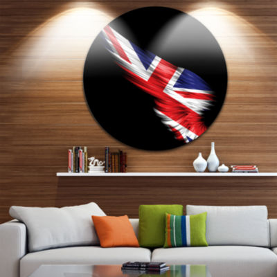 Design Art Wing with United Kingdom Flag Large Contemporary Circle Metal Wall Arts