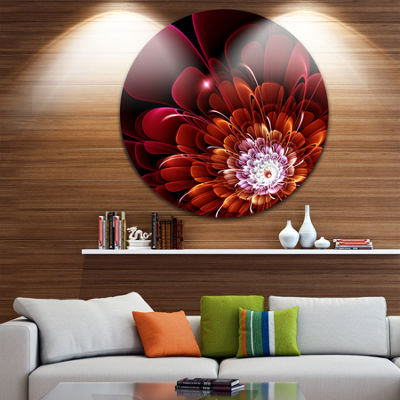 Design Art Fractal Red and Yellow Flower Floral Circle Metal Wall Art