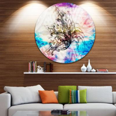 Design Art Blue Paper Flower and Flame Circle Metal Wall Art