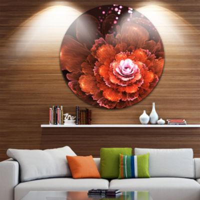 Design Art Fractal Orange Flower Floral Circle Metal Wall Art