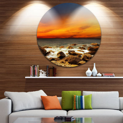 Design Art Red Sky over Rocky Seashore Beach Photography Circle Metal Wall Art