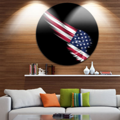 Design Art Wing with American Flag Large Contemporary Circle Metal Wall Arts