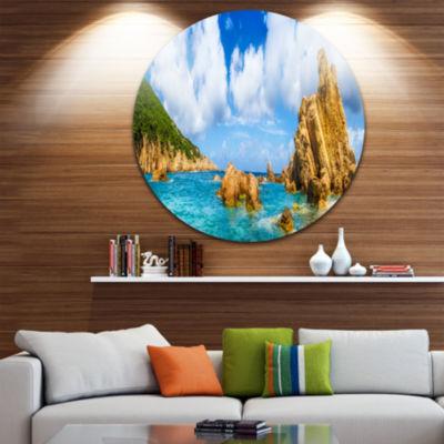 Design Art Costa Paradise Panorama Seashore PhotoCircle Metal Wall Art