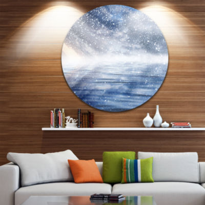 Design Art Clouds with Reflection in Water Landscape Photography Circle Metal Wall Art