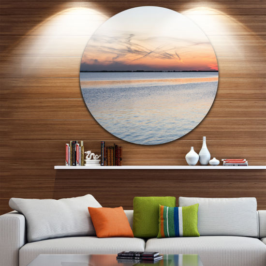 Design Art River in Front Landscape Photography Circle Metal Wall Art