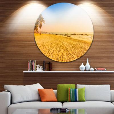 Design Art Coconut Palm Trees on Beach Landscape Photography Circle Metal Wall Art