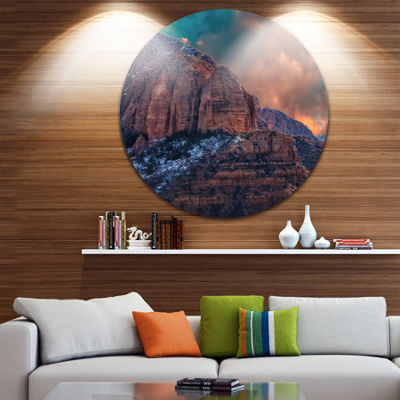 Design Art Red Rock Under Sunrise Sky Landscape Photography Circle Metal Wall Art