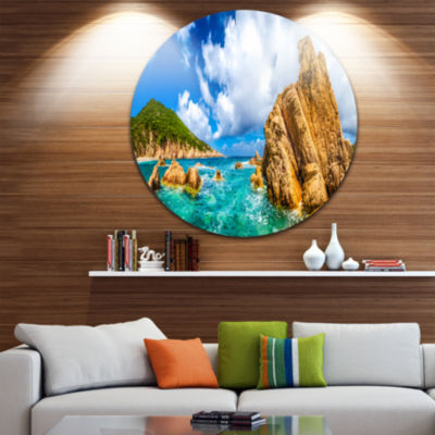 Design Art Costa Paradiso Close View Seashore Photo Circle Metal Wall Art