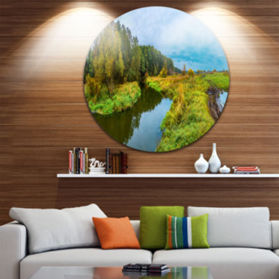 Design Art Green Park by the Lake Landscape Photography Circle Metal Wall Art