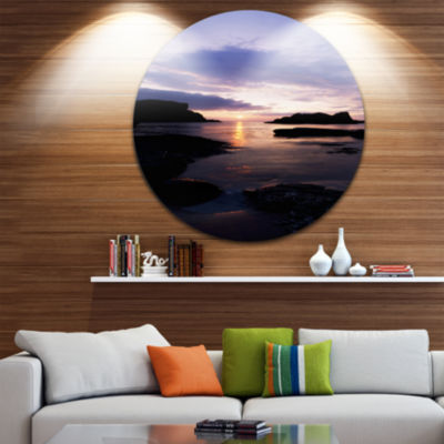 Design Art White Park Bay Beach Photography CircleMetal Wall Art