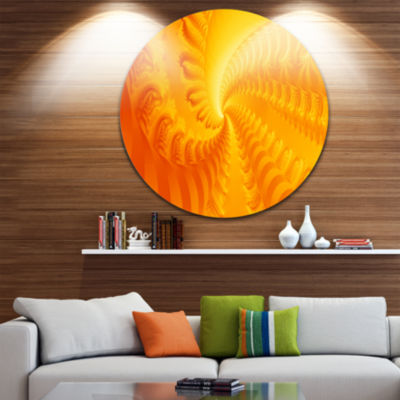 Design Art Bright Yellow Abyss Abstract Circle Metal Wall Art
