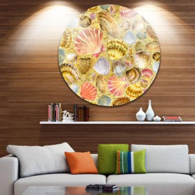Design Art Seashell and Sea Sand Beach PhotographyCircle Metal Wall Art