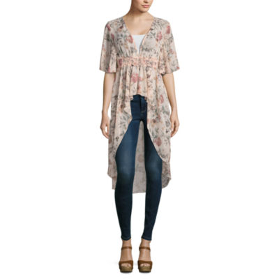 Almost Famous Short Sleeve Floral Kimono Juniors