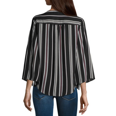 by&by Long Sleeve V Neck Dobby Blouse-Juniors