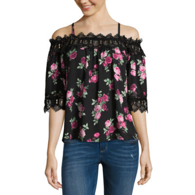 by&by 3/4 Sleeve Square Neck Dobby Blouse-Juniors