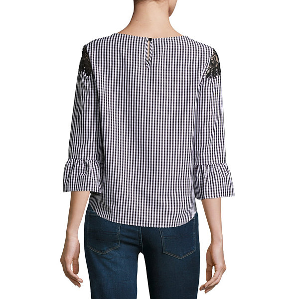by&by 3/4 Sleeve Crew Neck Crepe Lace Blouse-Juniors