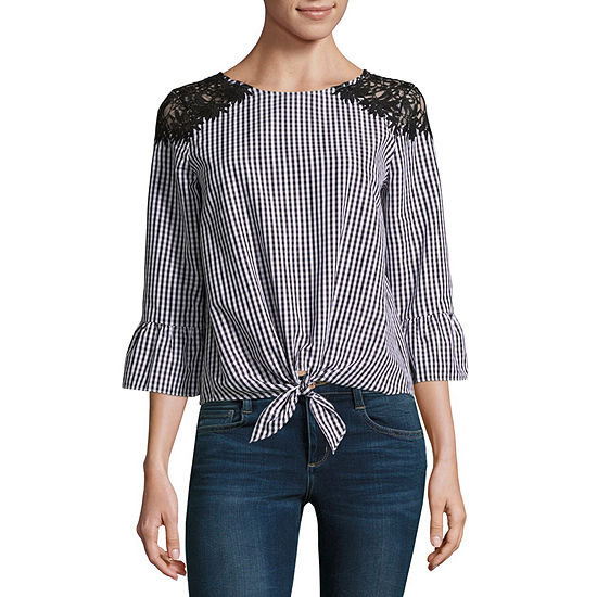 by&by 3/4 Sleeve Boat Neck Crepe Lace Blouse-Juniors