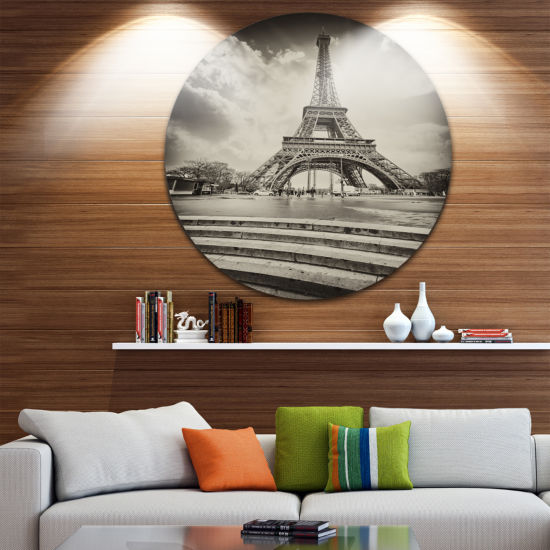 Design Art Paris Eiffel Towerin Gray Shade CircleMetal Wall Art