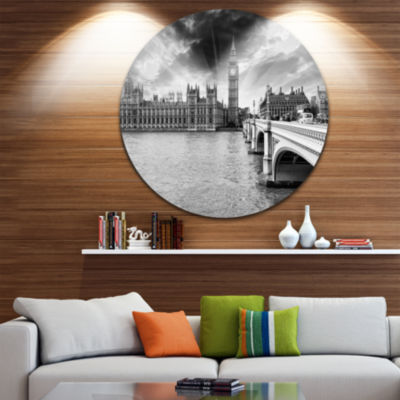 Design Art Westminster Palace in Gray Shade CircleMetal Wall Art