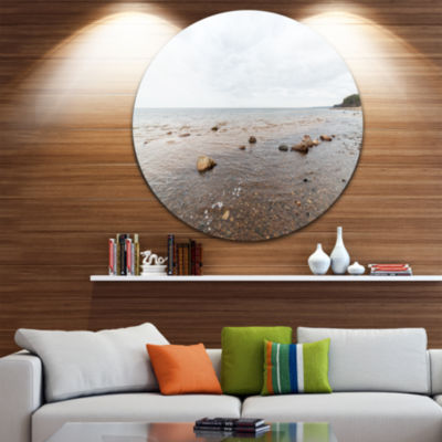 Design Art Rocky Autumn Beach Seashore PhotographyCircle Metal Wall Art