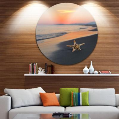 Design Art Summer Beach with Starfish Beach and Shore Circle Metal Wall Art