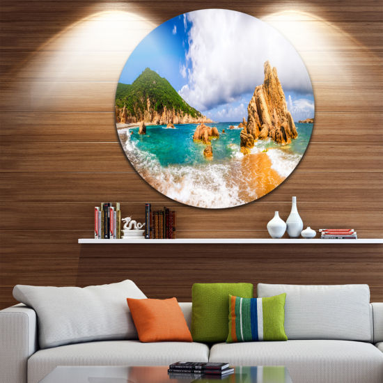 Design Art Scenic Costa Paradiso Seashore Photo Circle Metal Wall Art