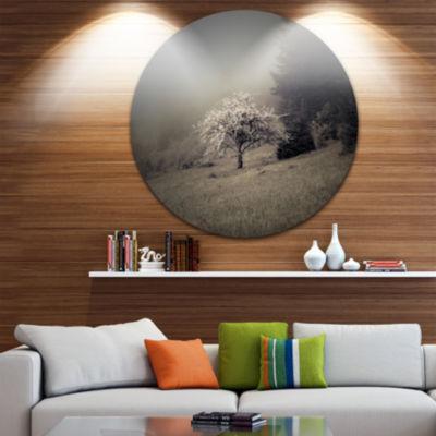 Design Art Apple Tree Vintage Style Circle Metal Wall Art