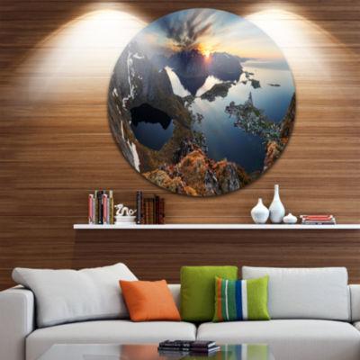 Design Art Rocky Sea Mountains Seascape Photography Circle Metal Wall Art