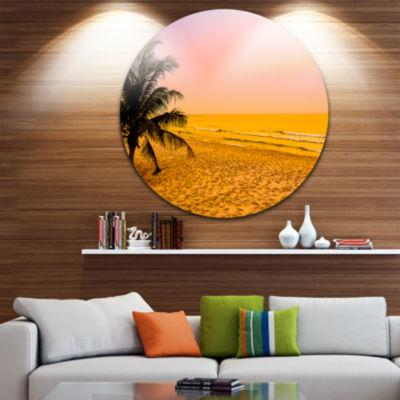 Design Art Coconut Tree Silhouette Landscape Photography Circle Metal Wall Art