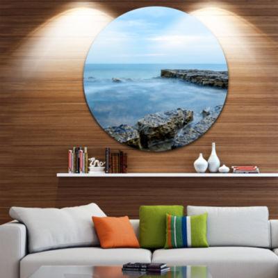Design Art Blue Rocky Seashore Beach Photography Circle Metal Wall Art