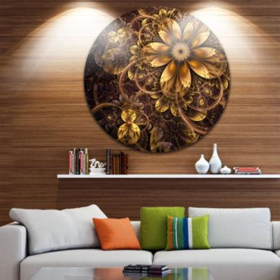 Design Art Fractal Dark Yellow Flower Floral Circle Metal Wall Art