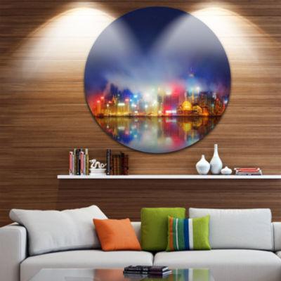 Design Art Colorful Hong Kong Skyline Cityscape Photography Circle Metal Wall Art