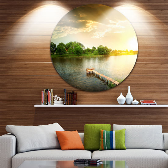 Design Art Lake Under Evening Sun Landscape PhotoCircle Metal Wall Art