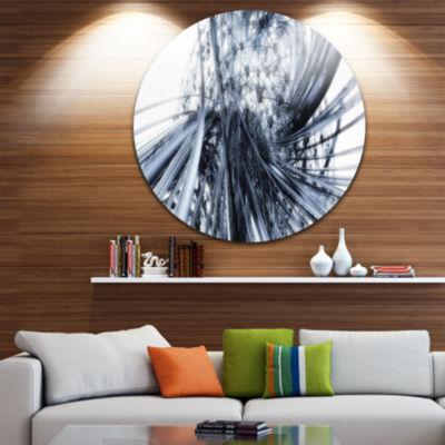 Design Art Fractal Black N White Connected StripesCircle Metal Wall Art