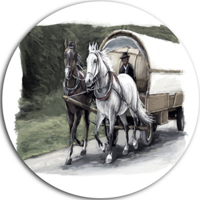 Design Art Horse Cart Black and White Animal Painting Circle Metal Wall Art