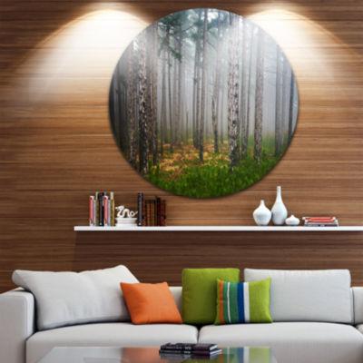 Design Art Dense Misty Forest Landscape Photography Circle Metal Wall Art