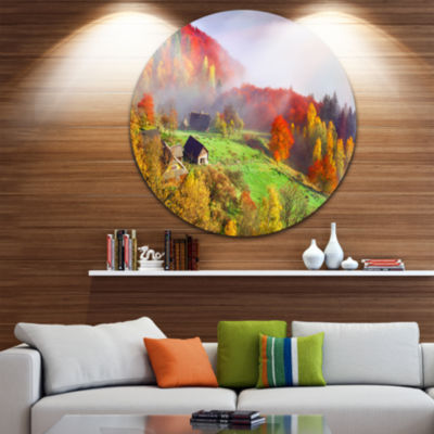 Design Art Colorful Mountain Village Landscape Photo Circle Metal Wall Art