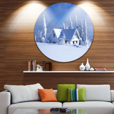 Design Art Orlicke Hory Cottage in Winter Landscape Photography Circle Metal Wall Art