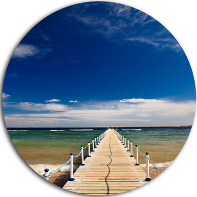 Design Art Jetty at Blue Dawn Panorama Bridge Round Circle Metal Wall Art
